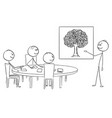cartoon of business team on brainstorming vector image vector image