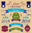 Christmas set - labels ribbons and other vector image vector image