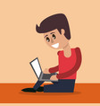 color background of man sitting working in laptop vector image vector image