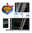 css programming language flat vector image