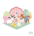 cute farm animal kid set cow pig lamb donkey vector image
