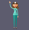 doctor lady waving her hand flat cartoon vector image