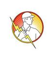 electrician holding lightning bolt circle monoline vector image vector image