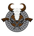 emblem with two old revolvers bullets and skull vector image vector image