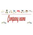 farm animals silhouettes animals logo vector image vector image