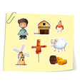 Farm set with boy and farm objects vector image