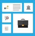 flat icon finance set of portfolio document scan vector image