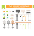flat workplace furniture set vector image vector image