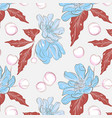 floral pattern with blueflowers red leaves summer vector image vector image