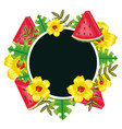 fresh watermelon fruit flowers and leafs vector image