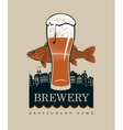 glass of beer and a fish vector image vector image