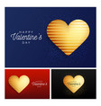 glitter heart banner set valentine day flyer blue vector image