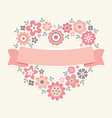 greeting card floral heart peach vector image
