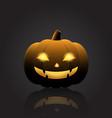 halloween pumpkin with happy face on dark vector image vector image