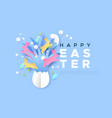 happy easter paper cut web template rabbit egg vector image vector image