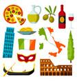 italy icons set italian symbols and objects vector image