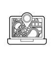 laptop application technology navigation pin map vector image vector image