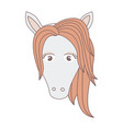 light colors of front face of female horse with vector image