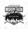 mountains adventure black round badge vector image vector image