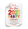 new year 2021 party poster template isolated vector image vector image