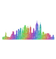 New York City skyline - multicolor line art vector image vector image