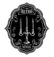 retro style label chalk emblem with candlestick vector image