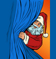 santa claus looks out from behind curtain vector image