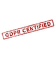 scratched textured gdpr certified rectangle stamp vector image