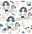 seamless childish pattern with cute horses in the vector image vector image