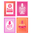 set of posters dedicated to 8 march best wishes vector image vector image