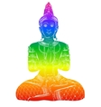 Silhouette of Buddha sitting on a white background vector image vector image