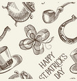 sketch saint patricks day seamless pattern vector image vector image