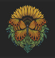 sunflower butterfly vector image vector image