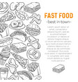 template with fast food vector image vector image