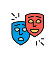 theater masks comedy and tragedy faces smile and vector image vector image