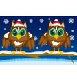 Two owls on tree vector image
