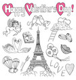 valentines day set with love doodles vector image