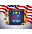 veterans day greeting navy blue vector image