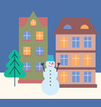 winter cityscape at night evening in wintry town vector image vector image