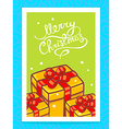 yellow christmas gifts and hand written t vector image vector image