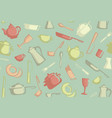 retro seamless background of kitchen ware vector image