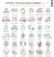 coffee tea alcohol drinks color line vector image