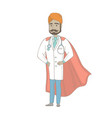 young indian doctor dressed as a superhero vector image
