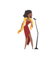 african american female jazz singer in red dress vector image