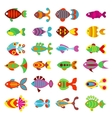 Aquarium flat style fishes icons vector image