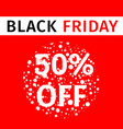 black friday sale red banner with discount percent vector image