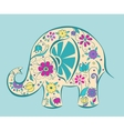 Blue elephant painted by flowers vector image vector image