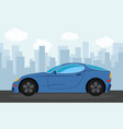 blue sports car in the background of skyscrapers vector image vector image