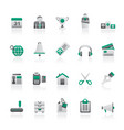 business and office equipment icons vector image vector image