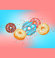 card with glaze donuts and sprinkles vector image